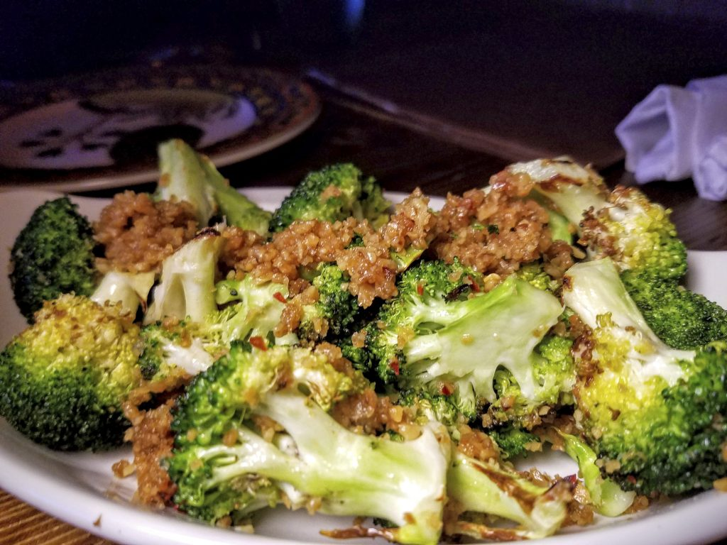 Roasted Broccoli made with Almond Picada & Rye Whiskey!