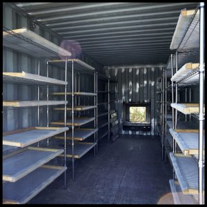 Inside of the container used to mesquite cold smoke their Rimfire barley
